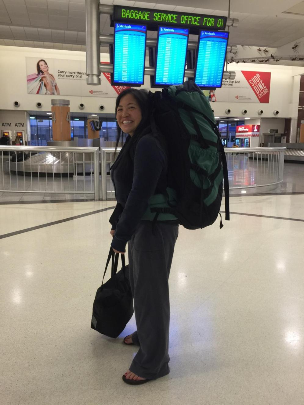 At the Atlanta aiport, getting ready for my first backpacking trip overseas! Destination: Singapore, Bangkok, Cambodia and Laos in Feb. 2015.